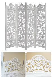 antique room divider wooden 4 panel privacy screen folding carved