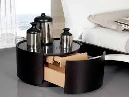 White Toughened Glass Bedroom Furniture Rounded Black Veneered Plywood Bedside Table With Main Plus Hidden