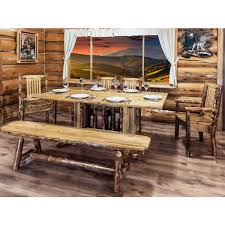 montana glacier country double pedestal log dining table by