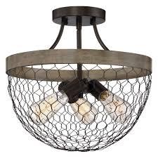 farmhouse semi flush light farmhouse light chicken wire semi flush ceiling light by quoizel