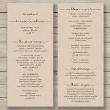 print wedding programs printable wedding program template order of service rustic
