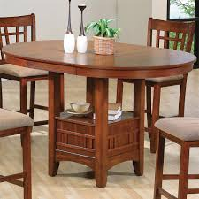 counter high dining room sets crown mark empire counter height dining table with pedestal base
