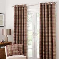 Dunelm Curtains Eyelet Highland Check Plum Lined Eyelet Curtains Dunelm