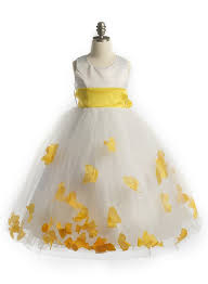 satin bodice petal flower dress with organza sash