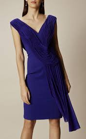 karen millen da280 navy drape pencil dress karen millen blue dress