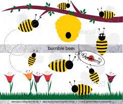 bumble bees clip art pack 300 dpi transparent png digital