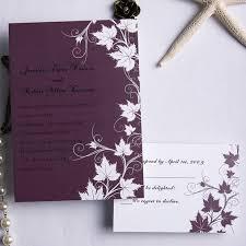 cheap fall wedding invitations cheap retro plum maple flowers fall wedding cards ewi169 as low as