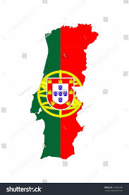Flag Com Portugal Country Flag Map Shape National Stockillustration