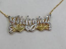 Nameplate Necklace Double Plated Personalized 14k Gold Overlay Double 3d Any Name Plate Necklace