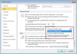format html for email outlook is sending winmail dat attachments