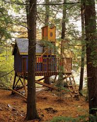 funny colorful nuanced outdoor tree house that created using