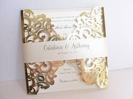 foil sted wedding invitations gold wedding invites laser cut wedding invitation gold foil