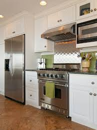 Kitchens With Stainless Steel Backsplash Cabinets Eclectic Kitchen Stainless Fridge And Oven With