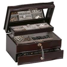 jewelry box 50 mele co davina women s locking wooden jewelry box mahogany target