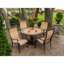 Sling Back Patio Dining Sets - monaco 5 piece dining set with 9 ft table umbrella monaco5pc su