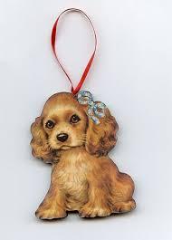 cocker spaniel puppy glittered tree ornament