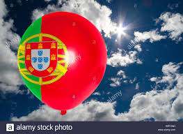 What Are The Colors Of The Portuguese Flag Balloon In Colors Of Portugal Flag Flying On Blue Sky Stock Photo