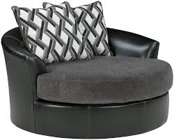 Swivel Accent Chair With Arms Benchcraft Kumasi Contemporary Fabric Faux Leather Oversized