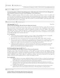 Example Resume For A Job by Production Manager Resume Berathen Com