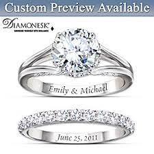 Personalized Engraved Rings Diamonesk Personalized Engagement Ring And Wedding Band Set