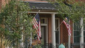 American Flag House American Flag On House Blowing In Slow Motion Stock Video Footage