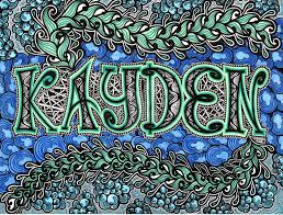 pattern art name zentangle name plate kayden colored by thelonelymaiden on deviantart