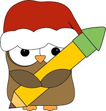 christmas owl holding a pencil clip art christmas owl holding a