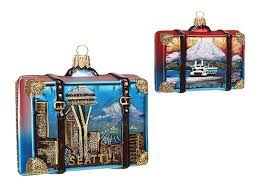 seattle travel suitcase glass ornament space