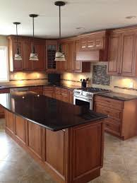 kitchen island granite countertop black granite countertops in a wooden kitchen with kitchen