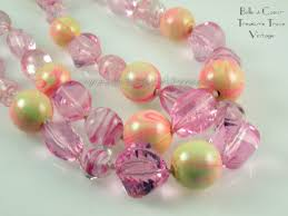 art glass necklace images Vogue chunky pink art glass and resin beaded double strand jpg