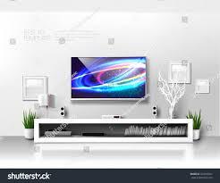 Minimalist Modern Minimalist Modern White Tv Shelf Books Stock Vector 329945027