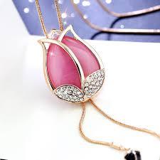 opal flower necklace images Elegant women opal flower tassel long necklace amazingheights jpg