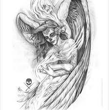 drawn angel artwork pencil and in color drawn angel artwork