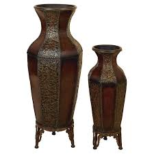 Spanish Vase Metal Vase With Stand Set Of 2 Spanish Courtyard Walmart Com
