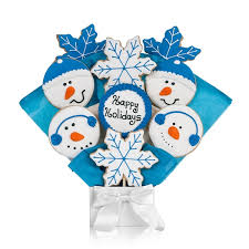 cookie bouquet blue frosty the snowman cookie bouquet christmas cookies
