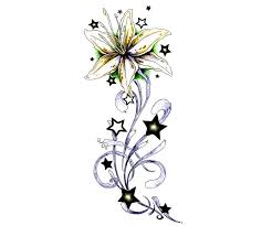 lily flower and stars tattoo design
