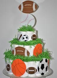sports themed diaper cake football baseball basketball u0026
