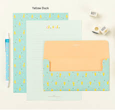 the magic notebook writing paper pastel letter set yellow duck