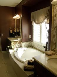brown wall paint glass window panel white bathtub ceramic