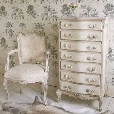 French Bedrooms by Delphine Distressed Shabby Chic White Tallboy Chest Bedroom