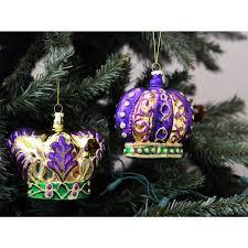 mercury glass crown ornaments set of 2 hg1017