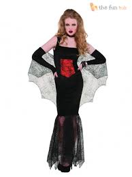 ladies vampire costume long womens vampiress halloween fancy dress