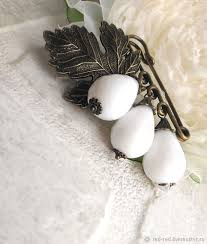 buy brooch safety pin for scarf white agate drops on livemaster