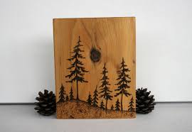 wooden pine tree wall pine trees block woodburning by twigsandblossoms on etsy