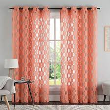95 Inch Curtains Vcny Aria 95 Inch Window Curtain Panel In Coral Style Coral Window