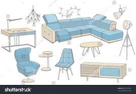 Furniture For A Living Room Vector Sketch Set Furniture Living Room Stock Vector 576373921