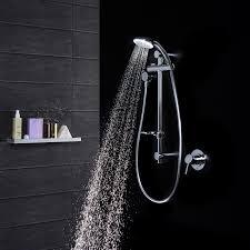 High End Shower Fixtures Dorf Luminous Led Curve Rail Shower Showerexperience Led Shower