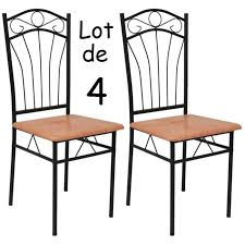 chaises en fer forgé lot de 4 chaises en métal et bois effet fer forgé table à manger