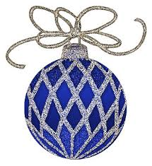 7 blue ornaments merry