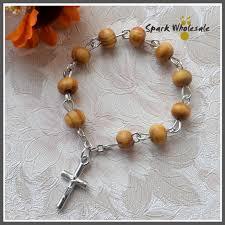 catholic rosary ring 25pcs lot catholic 6mm pine wood finger rosary religious